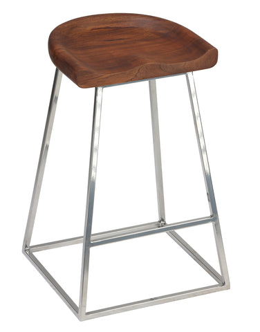 Image of Cortesi Home Monarch Saddle Seat Counter Stool (Set of 2), 25""
