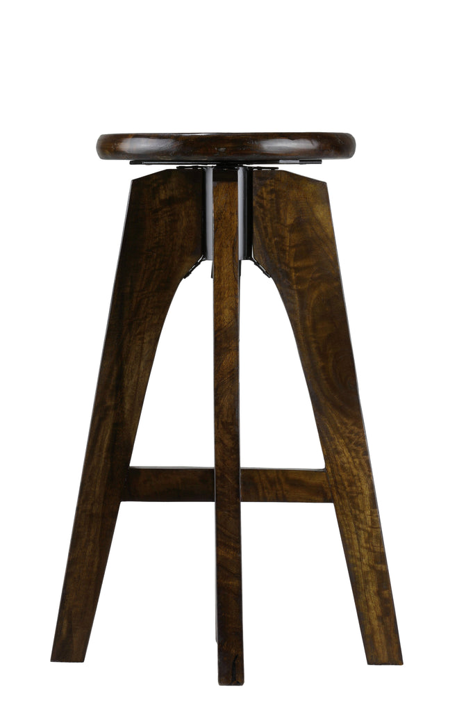 Bare Decor Rorie Adjustable Swivel Counter Stool in Solid Wood