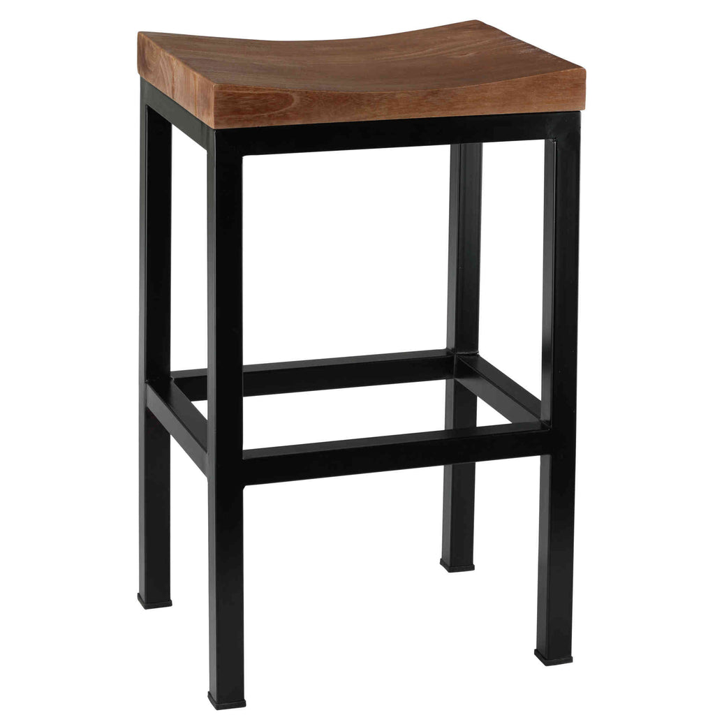Bare Decor Kitta Metal Barstool with Solid Wood Seat