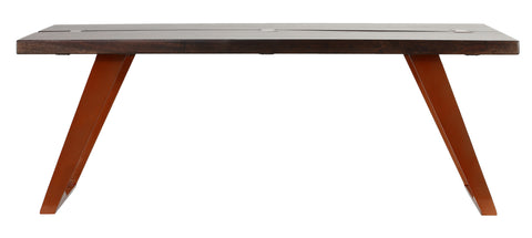 Cortesi Home Admiral Wood Coffee Table with Steel Frame