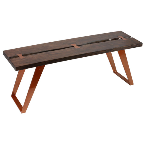Bare Decor Admiral Wood Dining Bench with Steel Frame, 63""
