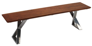 Cortesi Home Emperor Wood Dining Bench with Steel Base