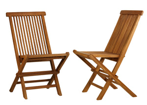 Bare Decor Vega Golden Teak Wood Outdoor Folding Chair (Set of 2)