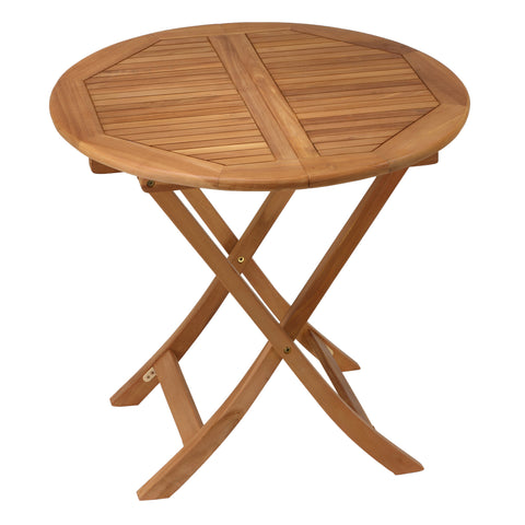 "Image of Bare Decor Darcy Outdoor Teak Folding Dining Table 31"" Round"