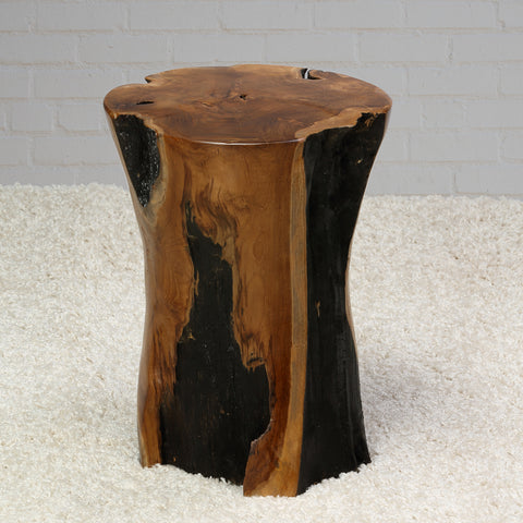 Bare Decor Hourglass Artisan Accent Tree Stump Table, Solid Teak Wood