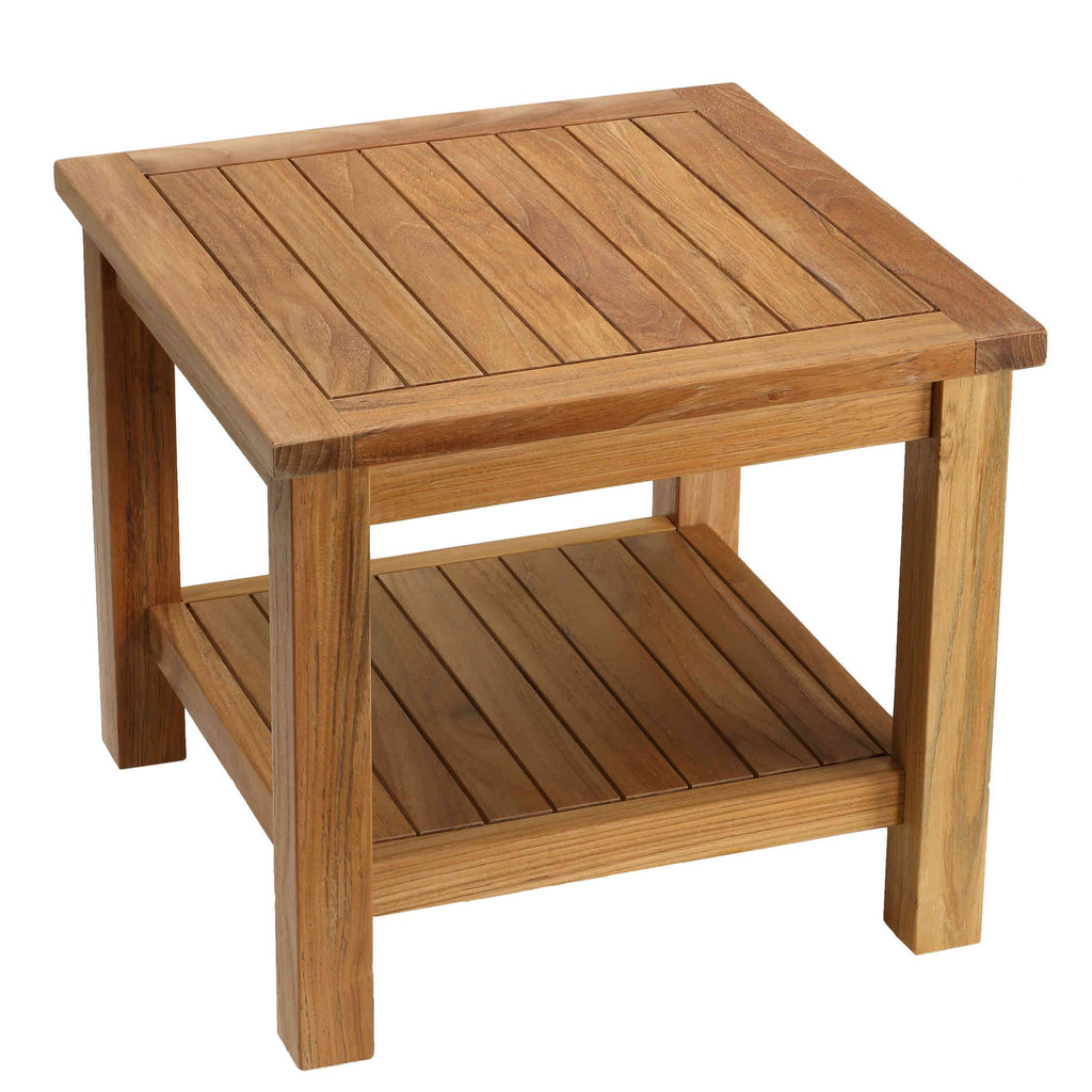 Bare Decor Turi Side Table with Shelf in Solid Teak Wood, Square 20""