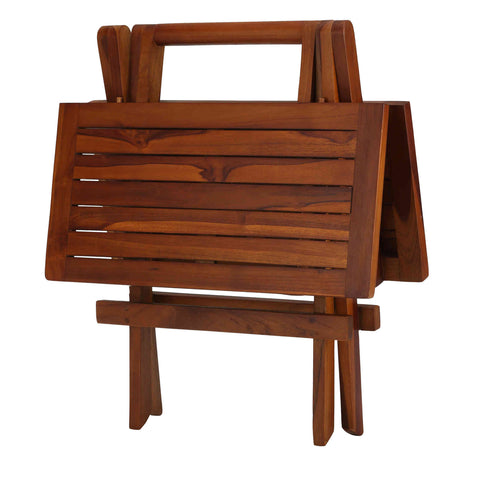 Image of Bare Decor Ravinia Folding Teak Small Table, Oiled Finish