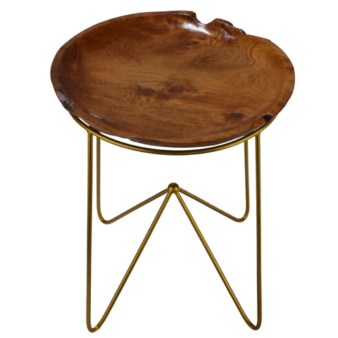 Image of Bare Decor Paolo End Table with Teak Wood Top with Gold Finish Metal Legs