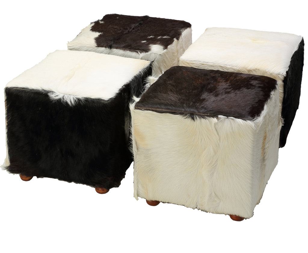 Bare Decor Peru Black Cowhide Cube Ottoman in Genuine Hide Leather