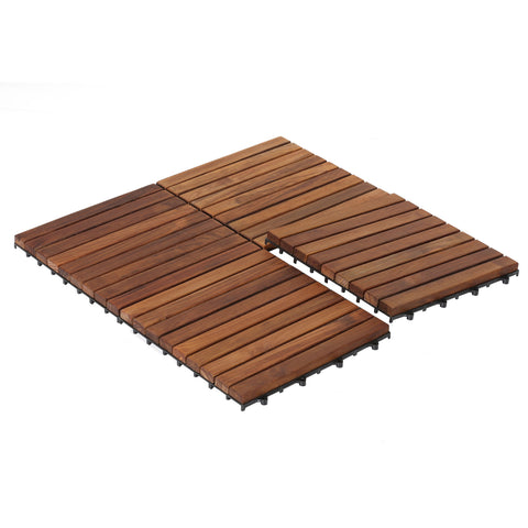 Bare Decor EZ-Floor Interlocking Flooring Tiles in Solid Teak Wood (Set of 10), Long 9 Slat