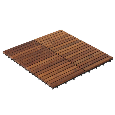 Image of Bare Decor EZ-Floor Interlocking Flooring Tiles in Solid Teak Wood Oiled Finish (Set of 10), Long 9 Slat