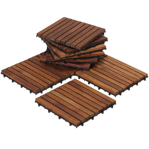 Image of Bare Decor EZ-Floor Interlocking Flooring Tiles in Solid Teak Wood (Set of 10), Long 9 Slat