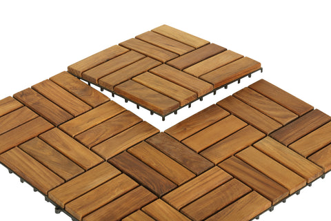 Image of Bare Decor EZ-Floor Interlocking Flooring Tiles in Solid Teak Wood (Set of 10)