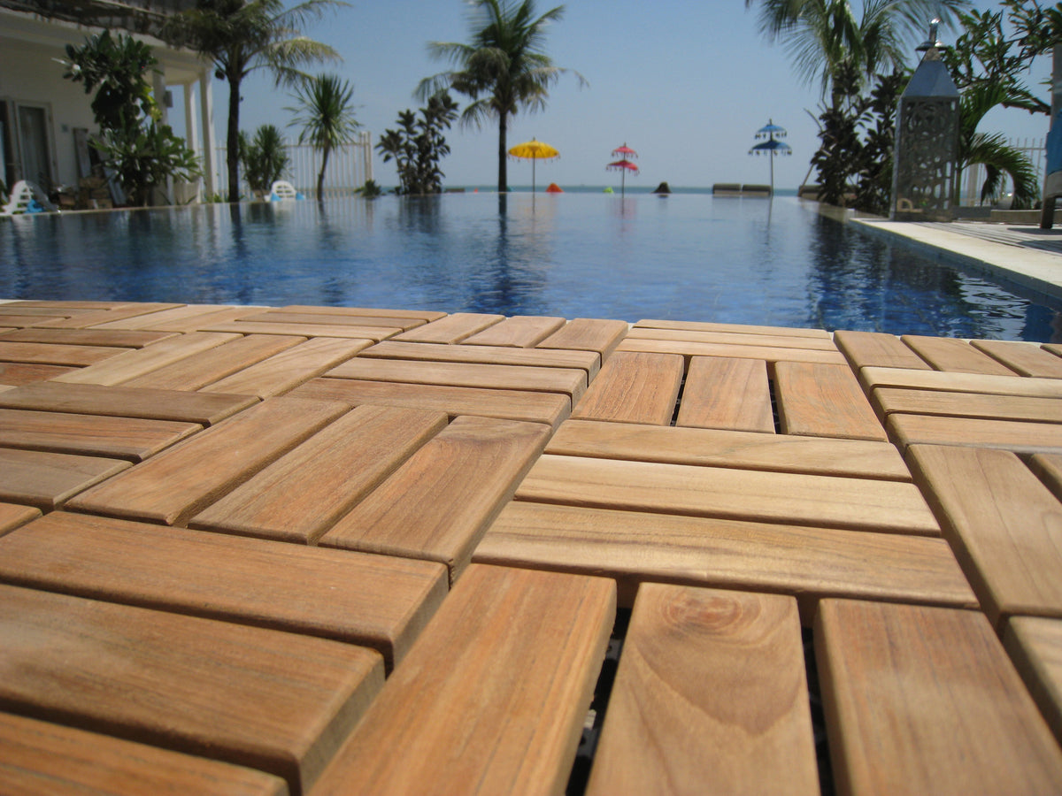 Bare Decor EZ-Floor Interlocking Flooring Tiles in Solid Teak Wood (Set of 10)