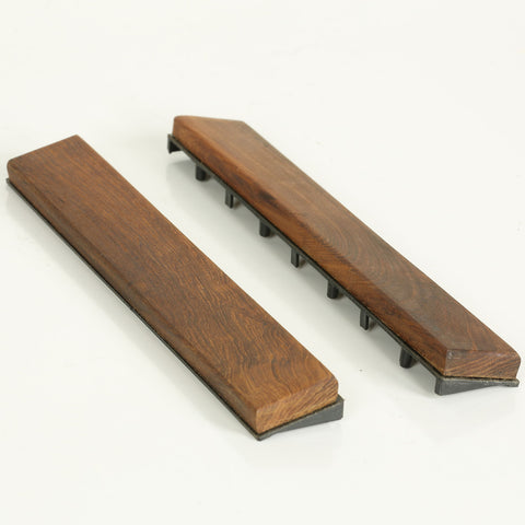 Image of Bare Decor EZ-Floor End Trim Piece Interlocking Flooring in Solid Teak Wood (Set of 2)