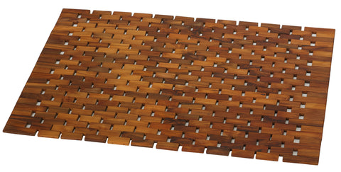 Image of Bare Decor Kuki Spa Mosaic Shower Mat in Solid Teak Wood Oiled Finish, 30x20