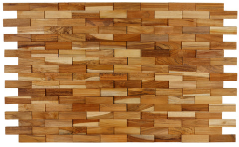 Image of Bare Decor EZ-Wall Brick 3D Pattern Tile in Solid Teak Wood, Set of 10 Natural Finish Tiles