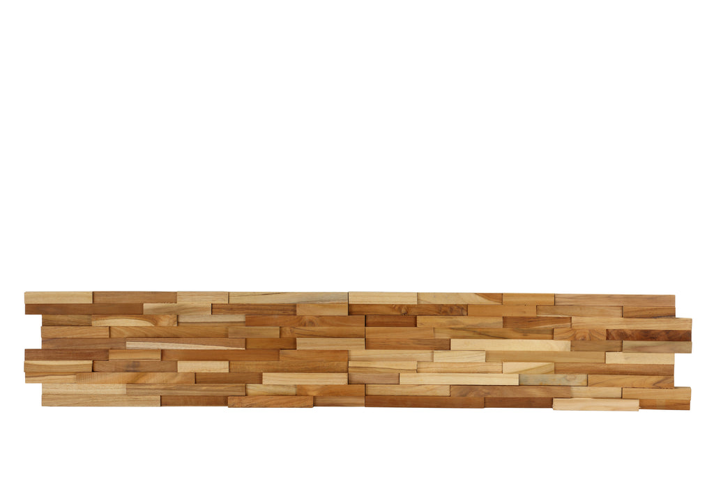 Bare Decor EZ-Wall 3D Mosaic Tile in Solid Teak Wood, Set of 10 Natural Finish Tiles