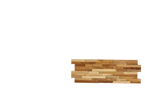 Image of Bare Decor EZ-Wall 3D Mosaic Tile in Solid Teak Wood, Set of 10 Natural Finish Tiles