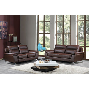 Cortesi Home Chicago Genuine Leather Sofa & Loveseat Set, Brown