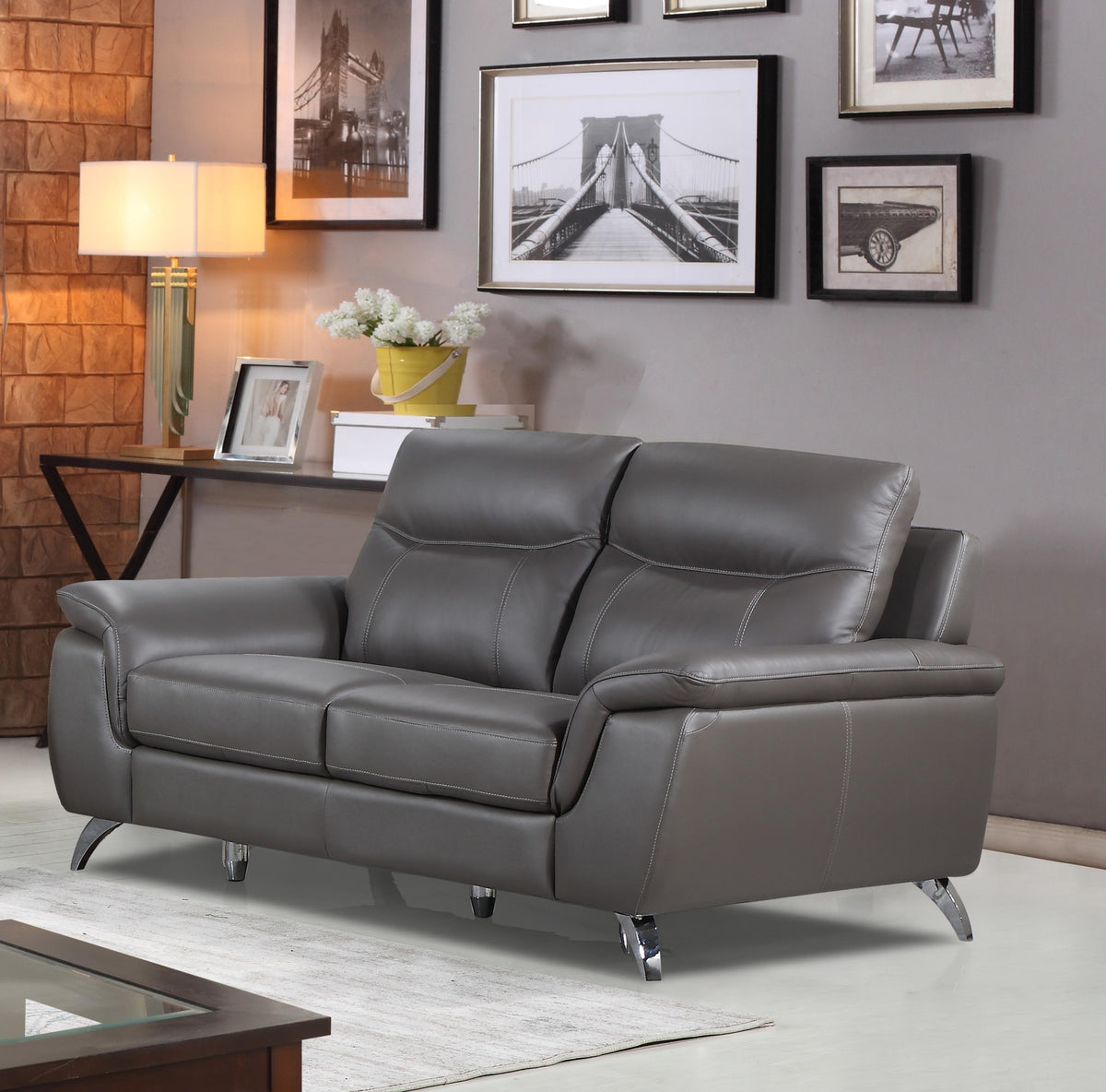 Cortesi Home Chicago Genuine Leather Loveseat, Dark Grey 66""