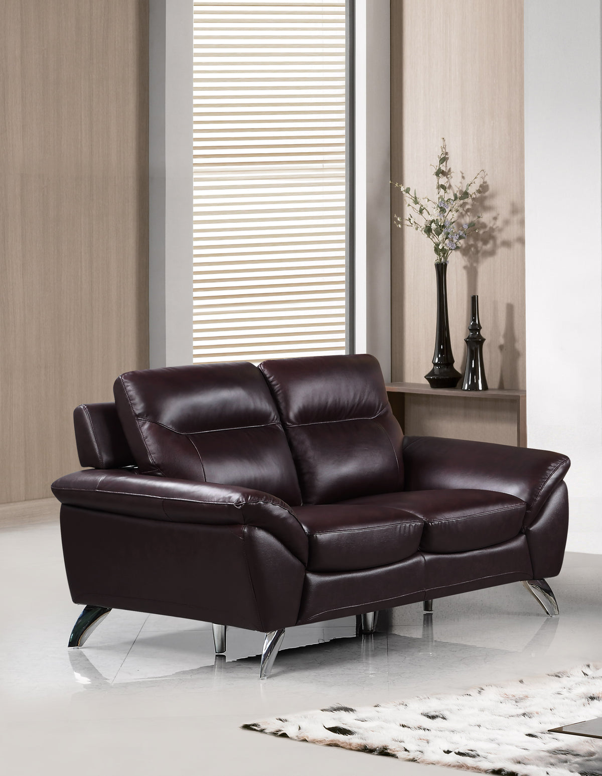 Cortesi Home Contemporary Madison Genuine Leather Loveseat, Deep Merlot 60""