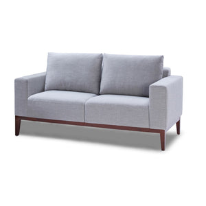 Cortesi Home Roma Loveseat in Soft Grey Fabric with Wood Legs, 64""