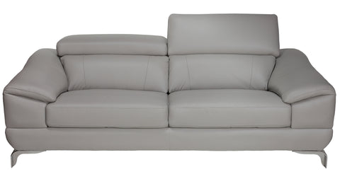 Image of Cortesi Home Vegas Genuine Leather Loveseat with Adjustable Headrests, Light Grey 66""