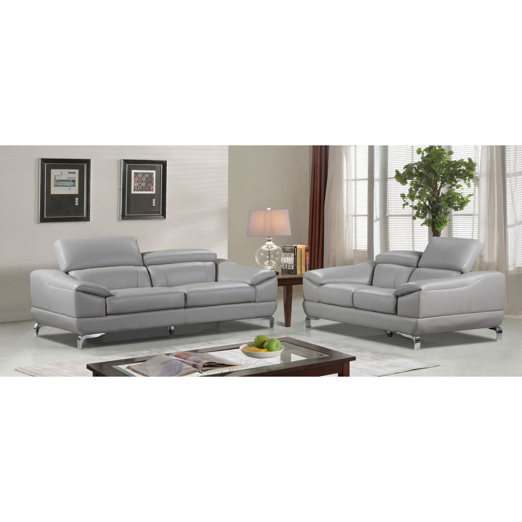 Pleasant Cortesi Home Vegas Genuine Leather Sofa Loveseat Set With Adjustable Headrests Grey Unemploymentrelief Wooden Chair Designs For Living Room Unemploymentrelieforg