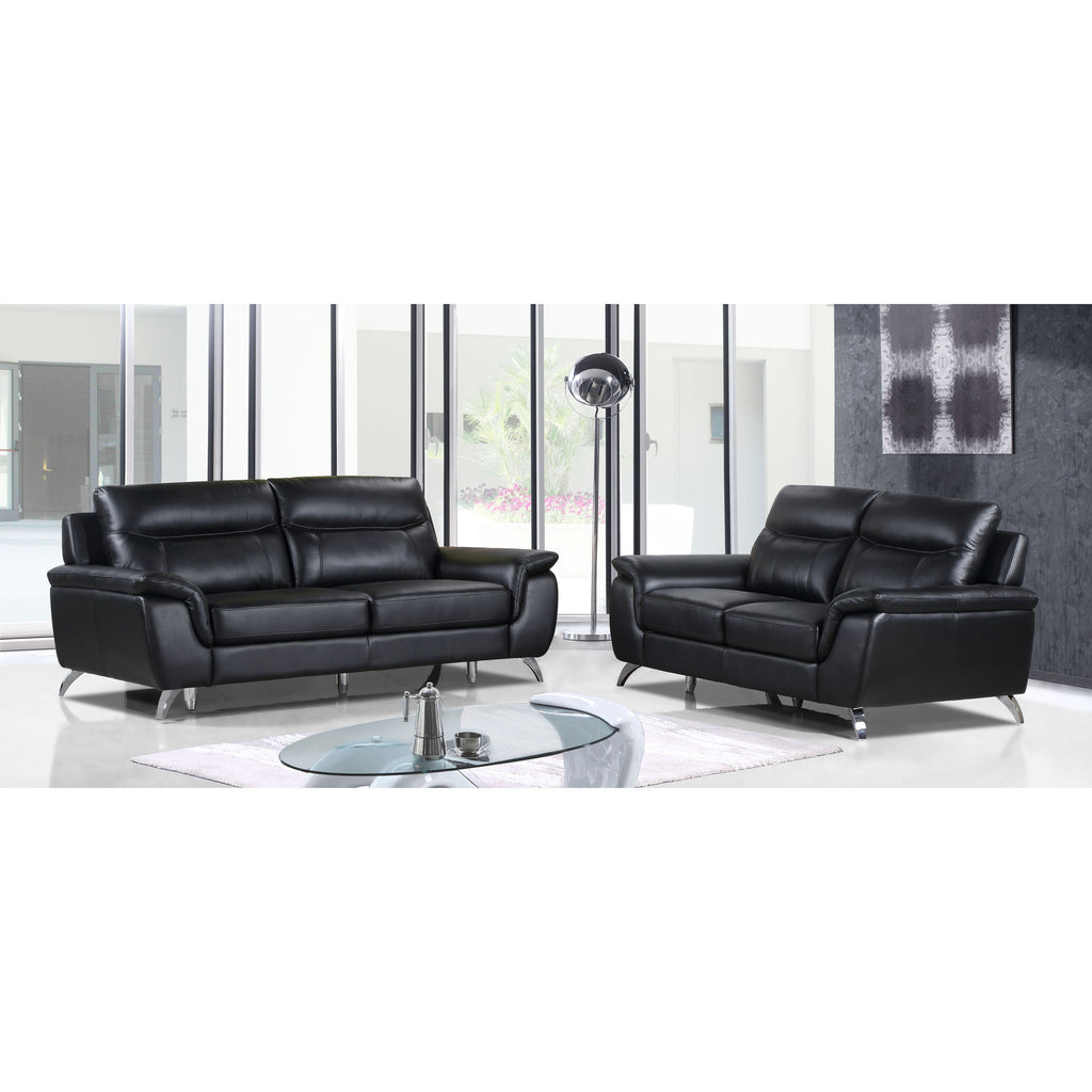 Cortesi Home Chicago Genuine Leather Sofa & Loveseat Set, Black