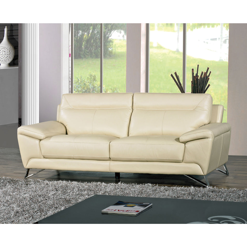 Cortesi Home Phoenix Genuine Leather Sofa, Cream 80""