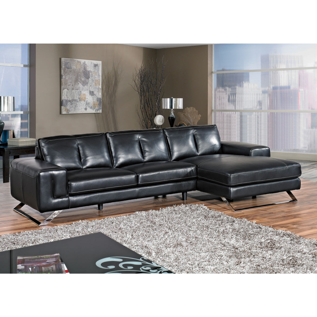 "Cortesi Home Contemporary Manhattan Genuine Leather Sectional Sofa with Right Facing Chaise Lounge, Black 116"" Wide"