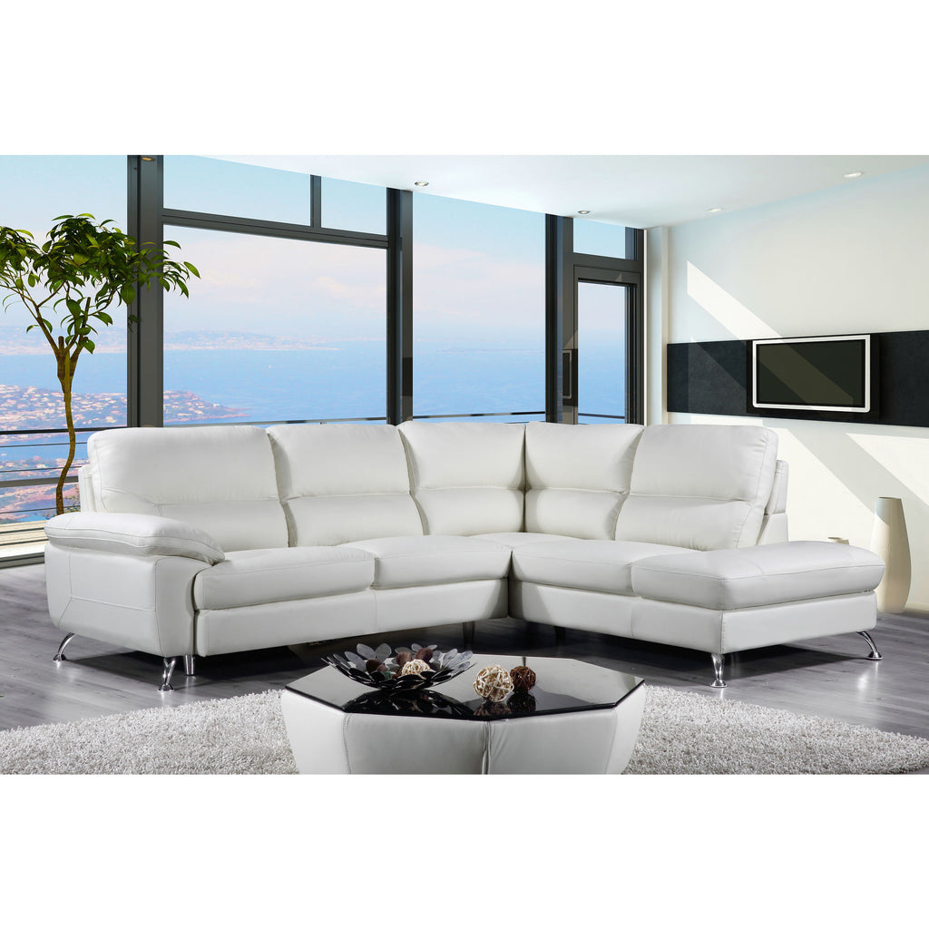 "Cortesi Home Contemporary Orlando Genuine Leather Sectional Sofa with Right Chaise Lounge, Cream 98""x80"""
