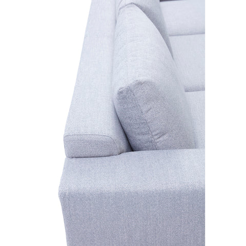 Image of Cortesi Home Roma Sofa in Soft Grey Fabric with Wood Legs, 80""