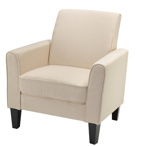 Cortesi Home Tali Arm Accent Chair, Solid Beige Linen Fabric