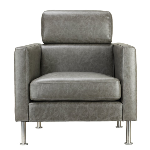 Cortesi Home Nicki Arm Chair with Adjustable Headrest, Grey