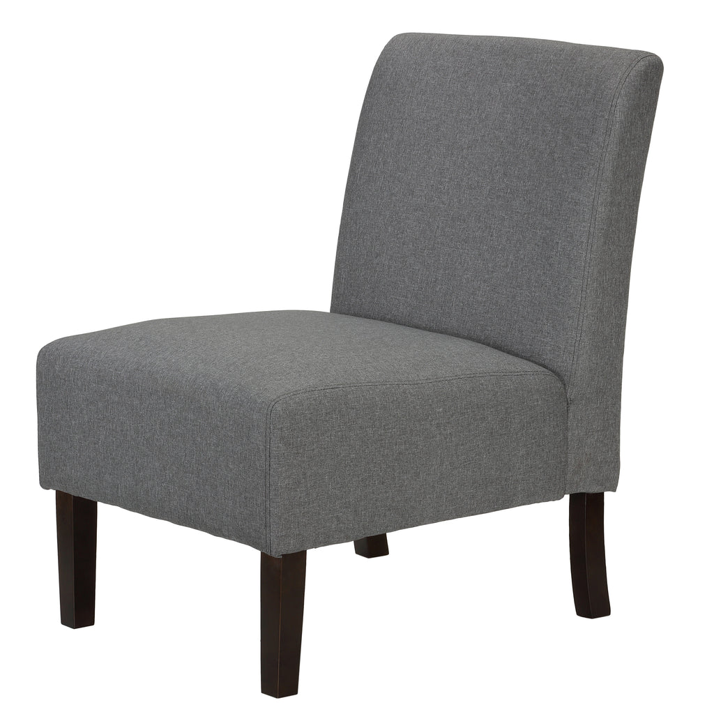 Cortesi Home Chicco Grey Linen Armless Accent Chair