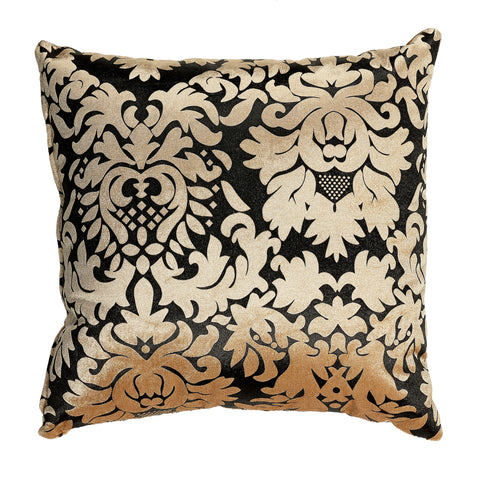 Cortesi Home Dama Decorative Damask Square Accent Pillow, Gold