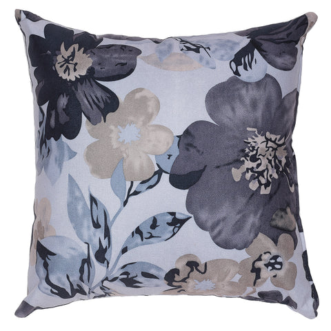Cortesi Home Oppy Decorative Square Accent Pillow, Blue Flower Print 16x16