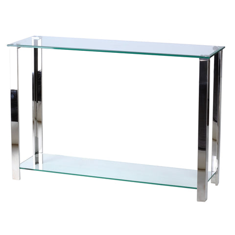 Image of Cortesi Home Melissa Double Shelf Glass Console Table, 43""