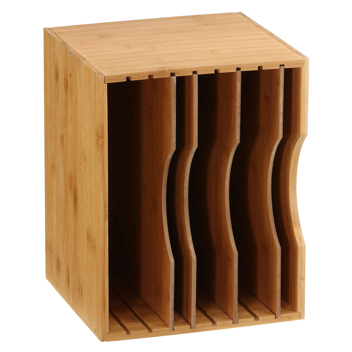 Cortesi Home Abigail Bamboo File Organizer with 4 Dividers