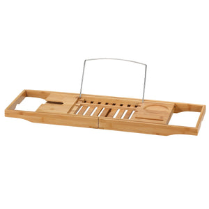 Cortesi Home Evelyn Bamboo Bathtub Caddy With Extending Sides