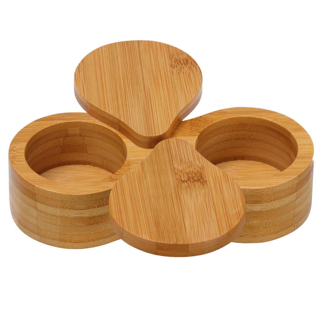 Cortesi Home Carol Bamboo Salt and Pepper Herbs and Spice Box with Top