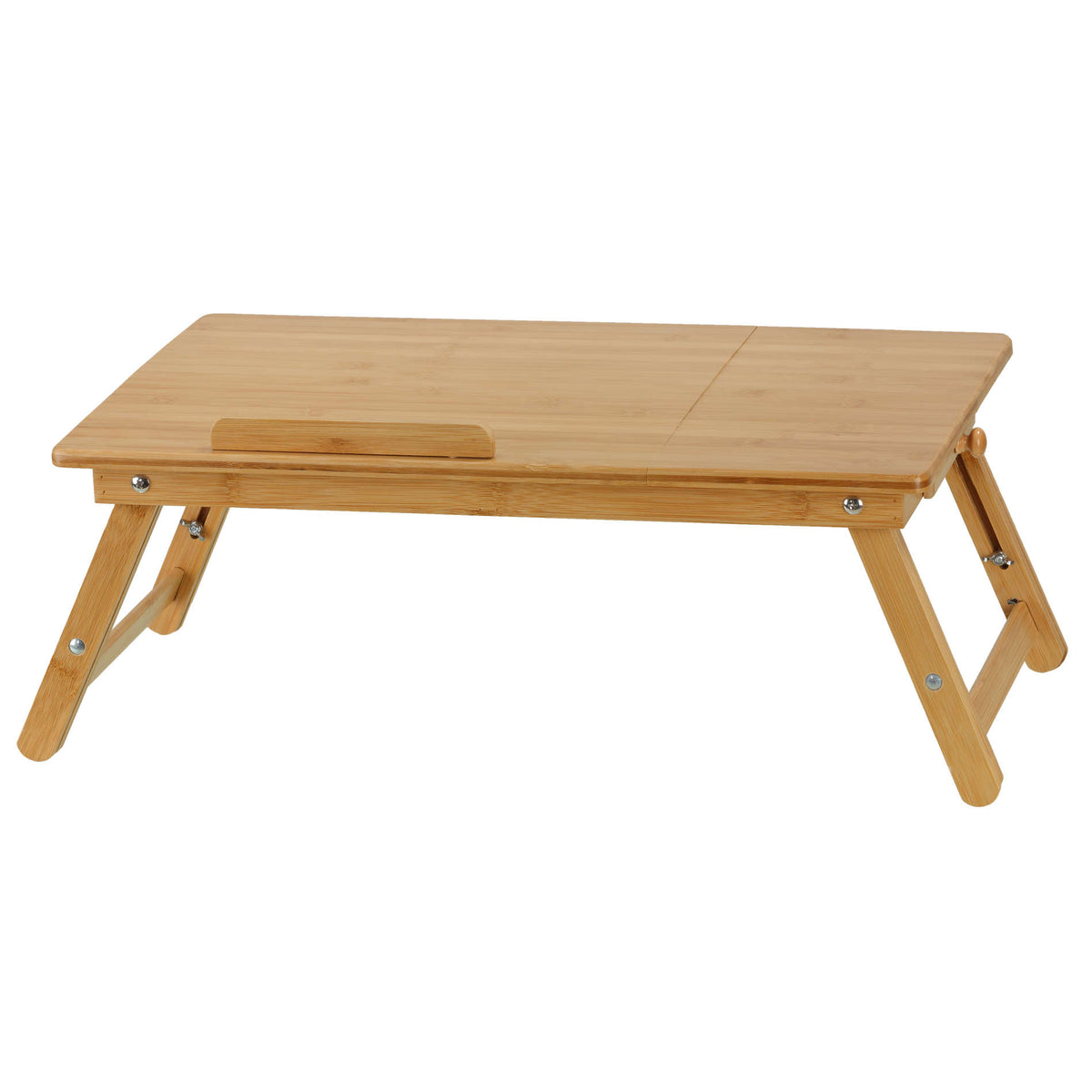Cortesi Home Terri Natural Bamboo Laptop Desk Serving Tray Table with Tilt Top and Drawer, 28x14