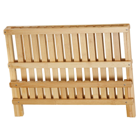 Image of Cortesi Home Rella Natural Bamboo Folding Dish Rack for Drying and Storage