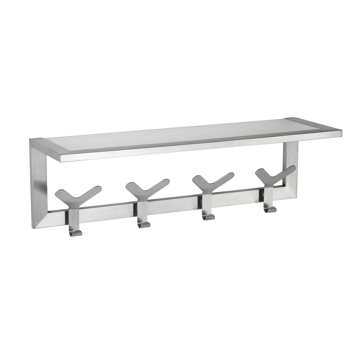 Milton Contemporary Stainless Steel Coat and Hat Hook Rail/Rack with Glass Shelf, Brushed Nickel