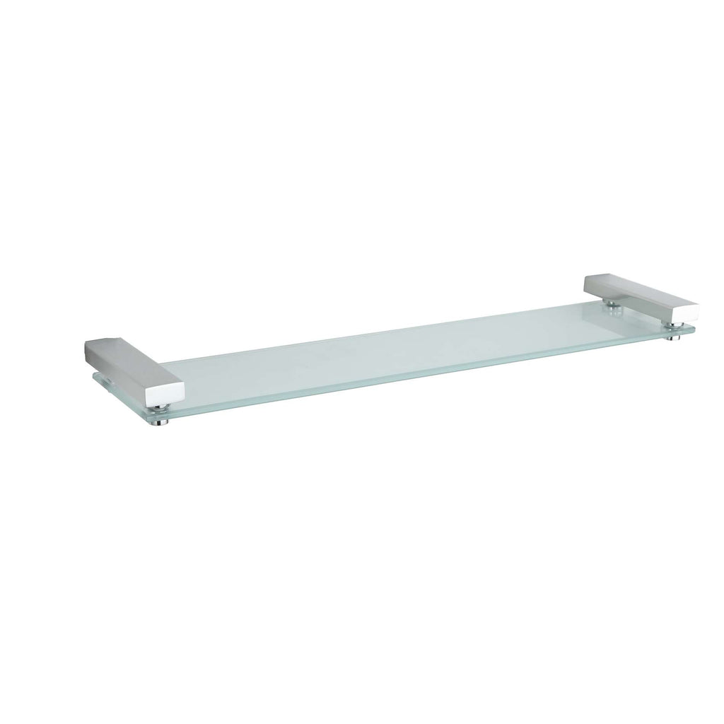 Enzo Contemporary Stainless Steel Glass Vanity Shelf, Chrome