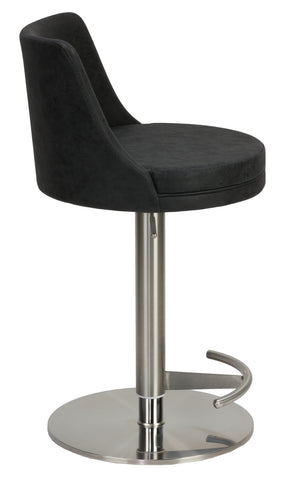 Cortesi Home Eros Adjustable Barstool in Brushed Stainless Steel with Heavy Solid Base, Retro Black