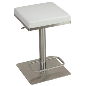 Retro Black CH-BS120343 Cortesi Home Atlas Adjustable Swivel Barstool in Brushed Stainless Steel with Heavy Solid Base