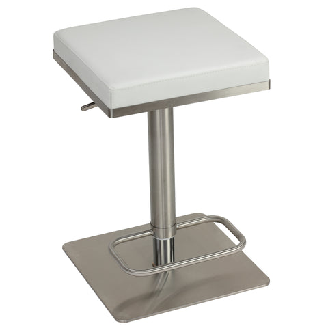 Cortesi Home Atlas Adjustable Barstool in Brushed Stainless Steel with Heavy Solid Base, White